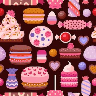 さまざまなカップケーキと甘いシームレスパターン