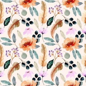 Сладкий бесшовный узор с цветочным и перо акварелью