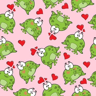 Sweet seamless pattern with funny frogs in love - vector