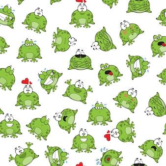 Сладкий бесшовный узор с забавными лягушками - вектор