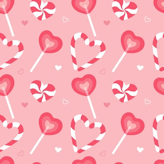 Sweet seamless pattern. wrapping paper pink caramel candy cane.