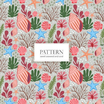 Sweet seaweed coral and variety shell seamless pattern