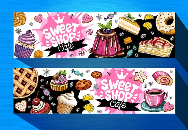 Sweet shop cafe banners template. colorful sweets labels, emblem. lettering, design, pastry, croissant, candy, cookie, colorful, splash, coffee, doodle, yummy.
