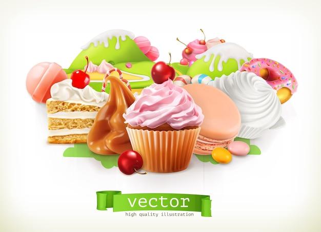 달콤한 가게. 제과 및 디저트, 케이크, 컵케익, 사탕, 카라멜. 3d 벡터 일러스트 레이 션