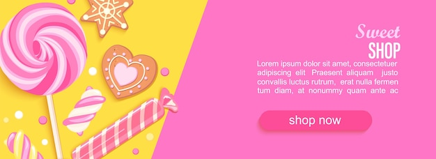 Sweet shop horizontal banner with sweets cookies marmalade
