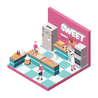 Sweet shop kitchen with bakers and waiters, desserts, food products, utensils, equipment and furniture isometric