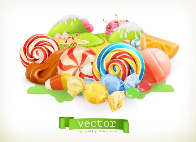 お菓子屋。渦巻きキャンディー、ロリポップ、キャラメル。キャンディーランド。 3dベクトル図