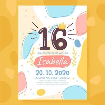 甘い16歳の誕生日の招待状のテンプレート
