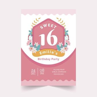 Сладкое шестнадцатилетнее приглашение на день рождения