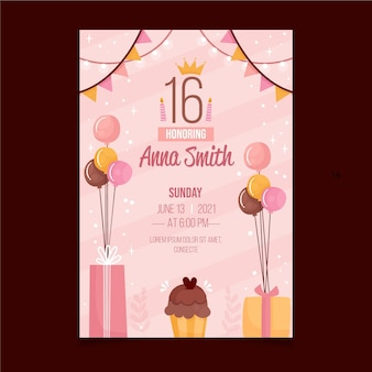 Sweet sixteen birthday invitation