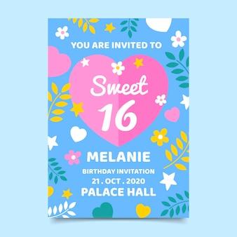 Dolce invito di compleanno di sedici anni