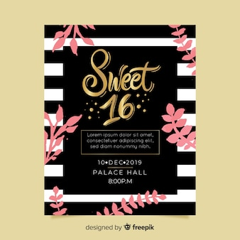 Sweet sixteen party invitation card