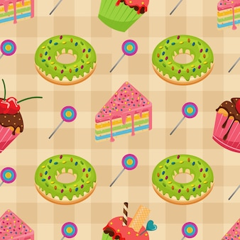 Sweet snack food seamless pattern cake donut muffin