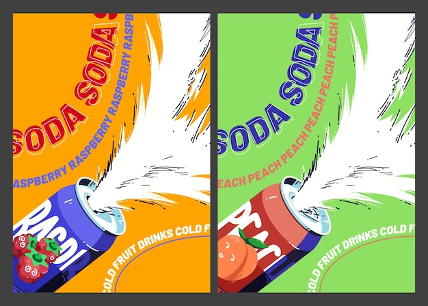 달콤한 소다 차가운 과일 음료 포스터