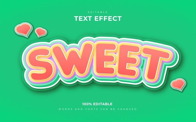 Сладкий мягкий 3d редактируемый текстовый эффект