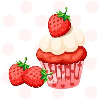 白いクリームと甘いイチゴのカップケーキ