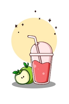 사과 만화 일러스트와 함께 달콤한 딸기 주스