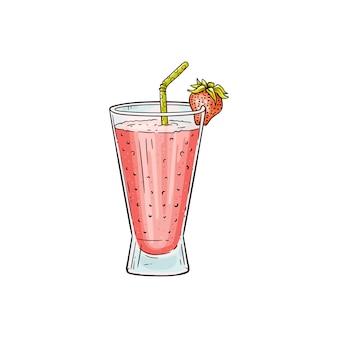 分離した甘いイチゴのミルクセーキの描画