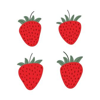 달콤한 딸기 세트 흰색 배경에 고립입니다. 잘 익은 열매. 만화 평면 벡터 일러스트 레이 션.
