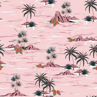 Sweet summer mood seamless island pattern  vector