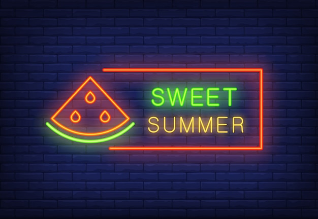 Sweet summer neon text in frame with watermelon slice. seasonal offer or sale advertisement