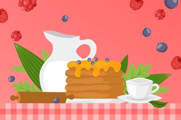 甘いシロップのパンケーキ、自家製料理のイラスト。新鮮な漫画のブルーベリーで飾られた皿の上のデザート。空のカップ