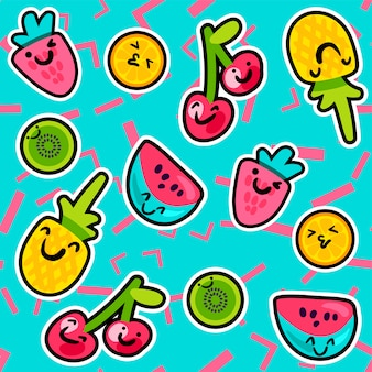 Sweet tasty summer fruits and berries pattern