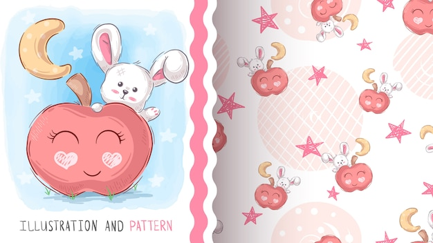 Sweet teddy rabbit - seamless pattern
