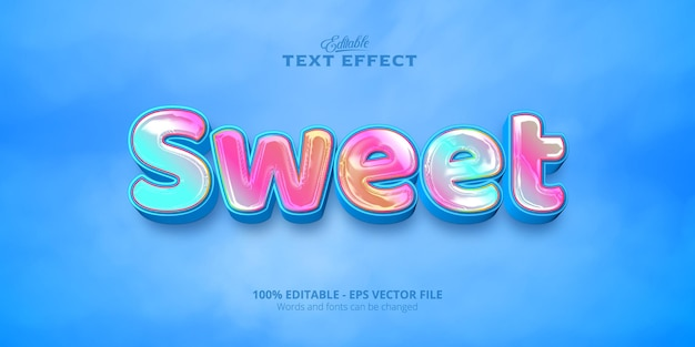 Сладкий текст, редактируемый красочный текстовый эффект