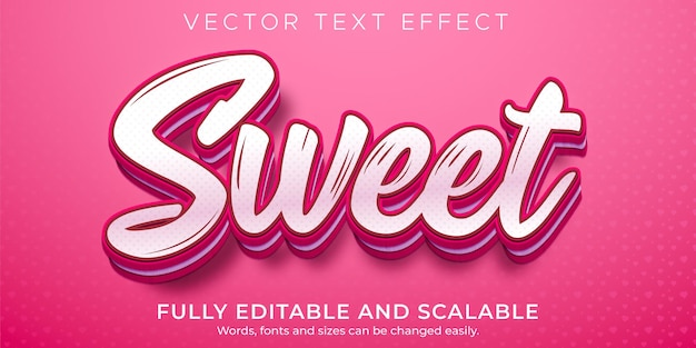 Sweet text effect, editable pink and soft text style