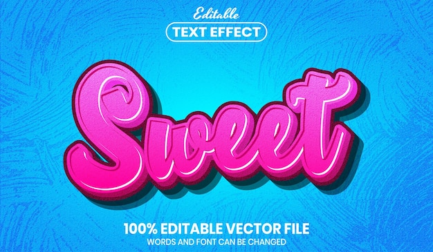 Sweet text, font style editable text effect