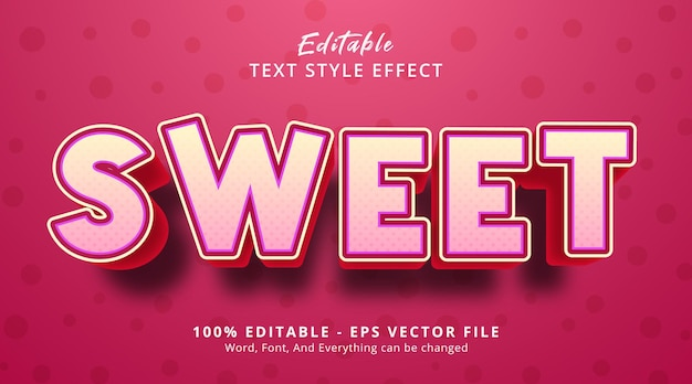 Sweet text on pink color with headline poster style, editable text effect