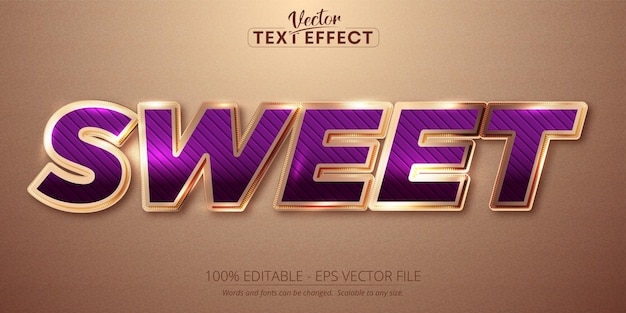 Sweet text, shiny rose gold color style editable text effect