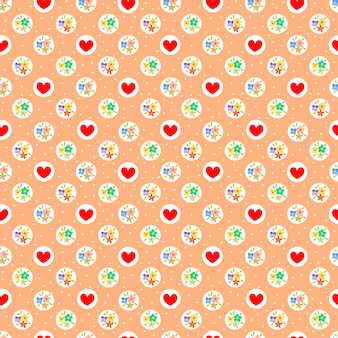 Sweet tiny flower and red heart seamless pattern.