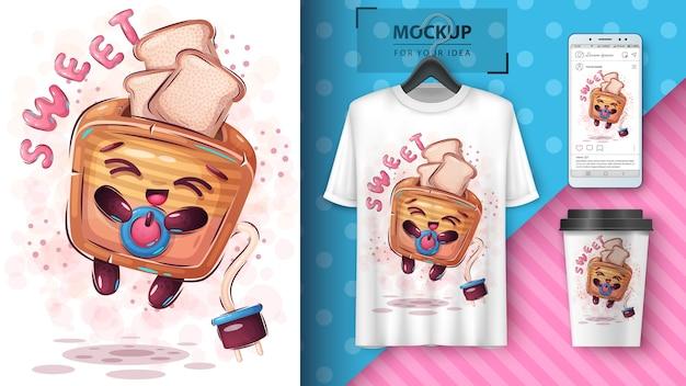 Плакат для сладкого тостера и мерчендайзинг