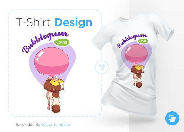 풍선 껌 일러스트와 티셔츠 디자인의 달콤한 이빨 고양이