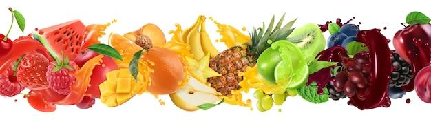 Сладкие тропические фрукты и смешанные ягоды. всплеск сока.