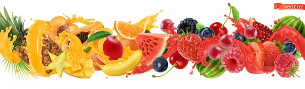 Sweet tropical fruits and mixed berries.