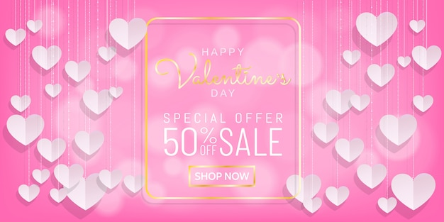 Sweet valentines sale pink background with hanging heart paper cut style
