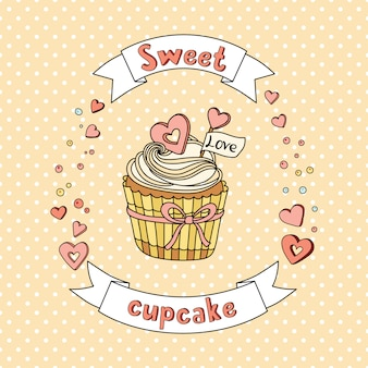 Sweet vector cupcake on delicate background