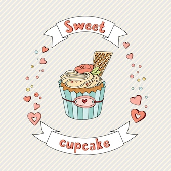 Sweet vector cupcake illustration