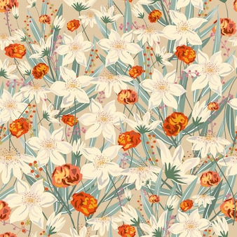 葉のシームレスなパターンを持つ甘いヴィンテージ花。