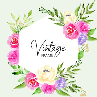 Sweet vintage frame with watercolor floral