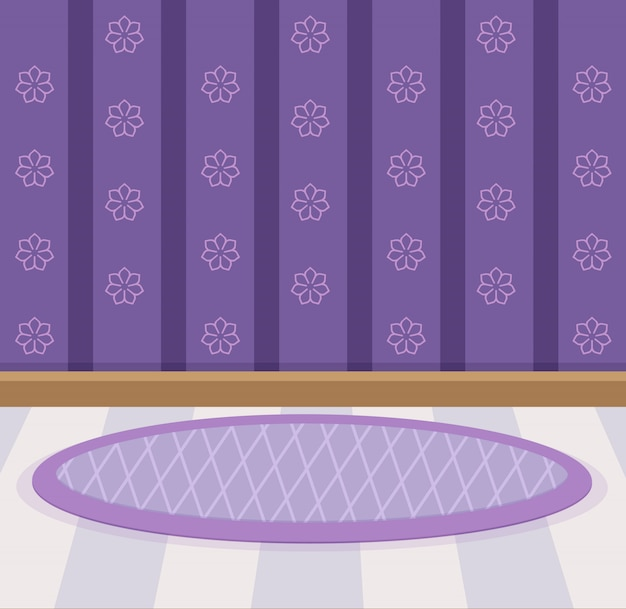 Sweet wallpaper and floor design color violet.