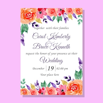 Sweet watercolor flower wedding invitation card