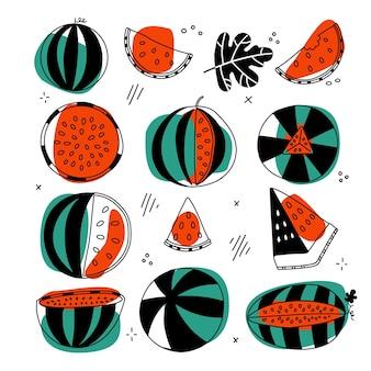 벡터 과일의 미니멀한 라인 스타일 컬렉션으로 설정된 달콤한 수박은 abst...