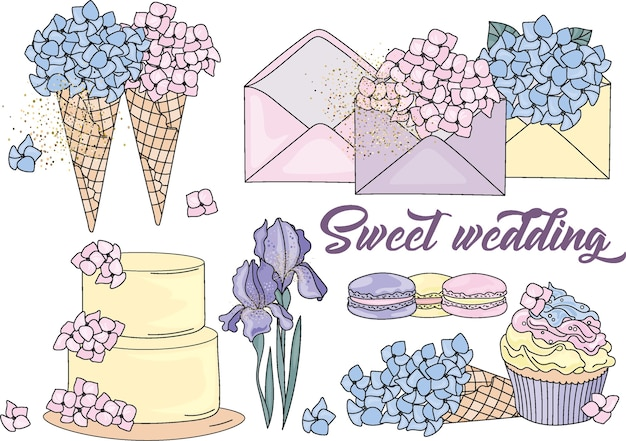 Sweet wedding color vector illustration set