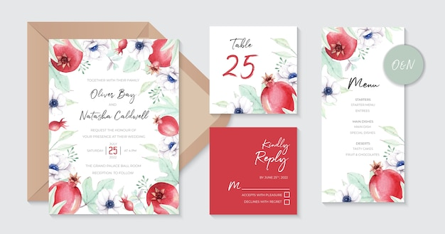 Sweet wedding invitation templates with watercolor pomegranates and anemone flowers