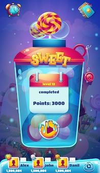Экран завершения уровня мобильного графического интерфейса sweet world Premium векторы