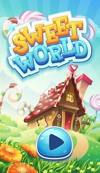 Экран загрузки мобильного графического интерфейса sweet world Premium векторы